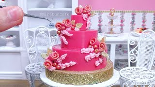 Miniature Pink Chocolate Rose & Red Velvet Cake - mini food ASMR