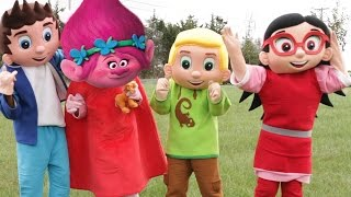 PJ Masks Adventure In Real Life IRL Luna Girl Turns Into Trolls Movie Poppy, Paw Patrol In Real Life