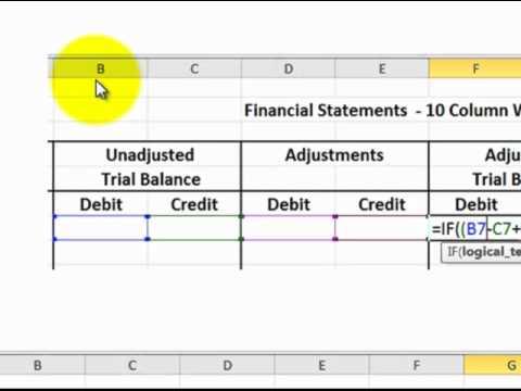 excel 10 column worksheet for accounting excel formulas detailed youtube. Black Bedroom Furniture Sets. Home Design Ideas