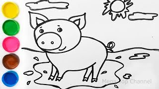 Animals for Kids | How to Draw Glitter Pig |Learn Colors with watercolor paints|Drawing and Coloring