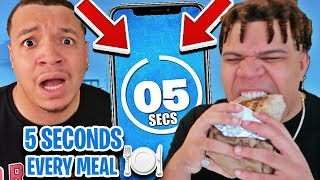I Only Have 5 Seconds To Eat EVERY MEAL For 24 Hours!! (Impossible Food Challenge)