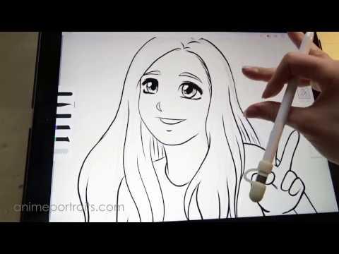 Inking an anime portrait on the iPad Pro