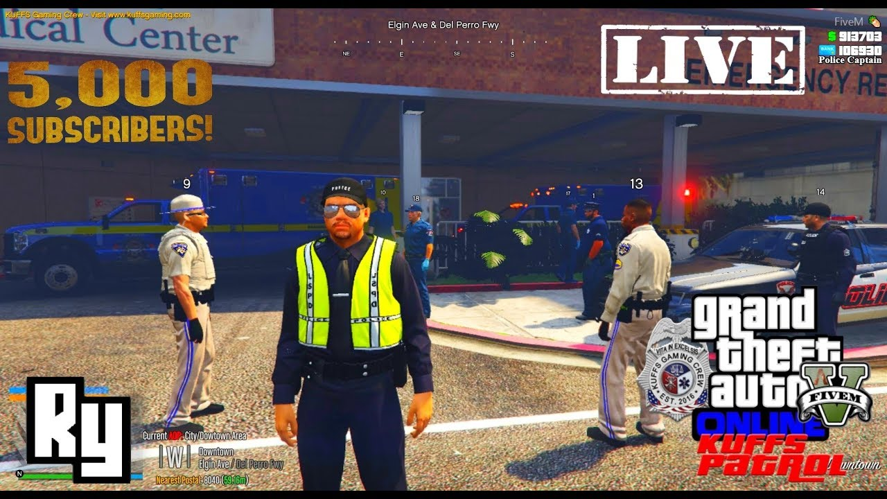 LIVE: GTA Kuffs Five M vRP Police Roleplay (Our 5,000 Subscriber Stream)