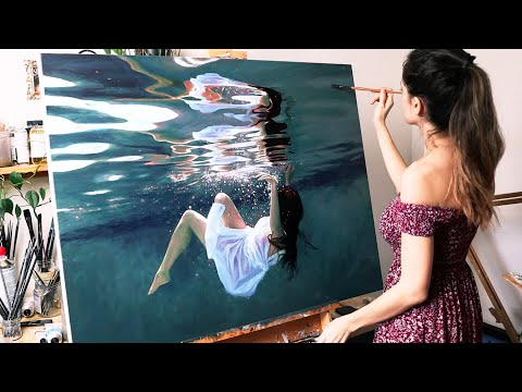 I painted myself underwater | Oil Painting Time Lapse | Realistic Underwater Scene