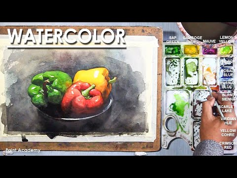 Watercolor Still Life Painting : A Composition on Capsicum/ Bell pepper