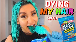 DYING MY HAIR WITH JOLLY RANCHERs HARD CANDY 😱🍭 *DIY CANDY HAIR DYE*