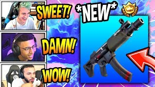 STREAMERS REACT TO *NEW* MP5 SUBMACHINE GUN! *RARE* Fortnite FUNNY & SAVAGE Moments