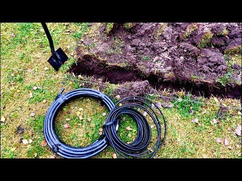 Ввод кабеля в дом. Прокладка в траншее в ПНД трубе