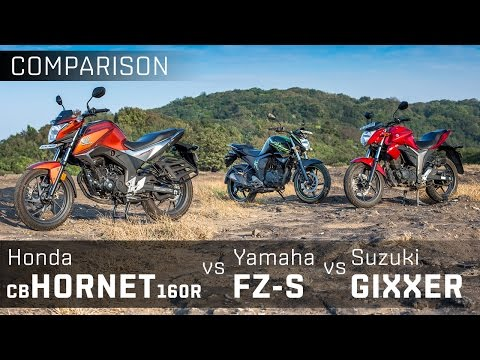 Yamaha FZ-S V2.0 vs Suzuki Gixxer vs Honda CB Hornet 160R :: Comparison Review