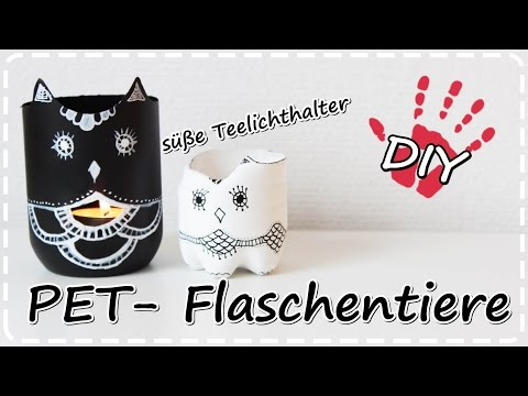 diy tiere aus pet flaschen teelichthalter vasen schmuckaufbewahrung plastic bottle vases musica. Black Bedroom Furniture Sets. Home Design Ideas