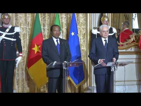 Visite d'Etat en Italie - Accueil du Couple Présidentiel Camerounais au Palais du Quirinale
