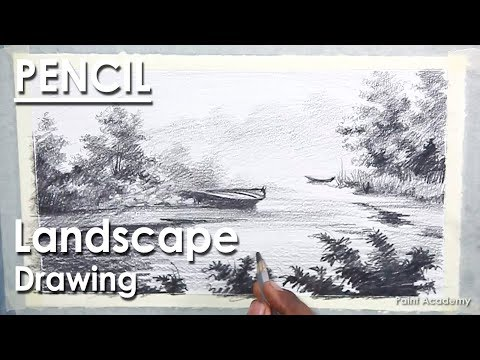 Pencil Drawing Techniques : Landscape Drawing in Pencil | Boat in the River