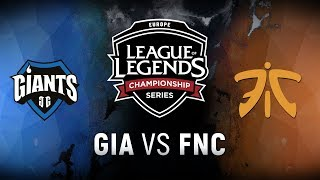 GIA vs. FNC - Week 3 Day 2 | EU LCS Summer Split | Giants Gaming vs. Fnatic (2018)