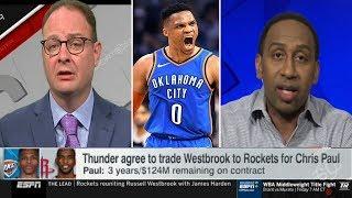 "Stephen A. & Wojnarowski ""explains why"": Thunder agree to trade Westbrook to Rockets for Chris Paul"