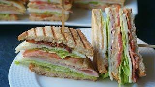 Club sandwich o sándwich club (Sándwich completo con jamón, queso y bacon)