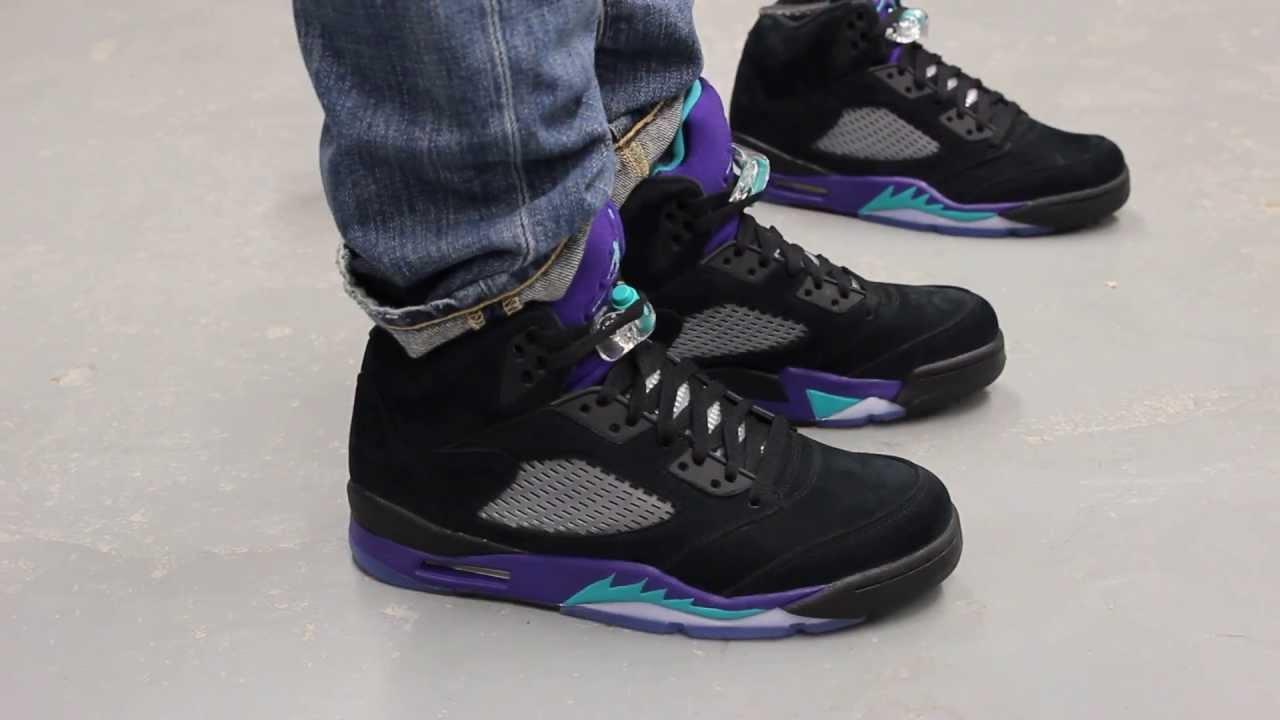 "Air Jordan V Retro ""Black Grape"" On-feet Video at ...Jordan Grape 5 Black On Feet"