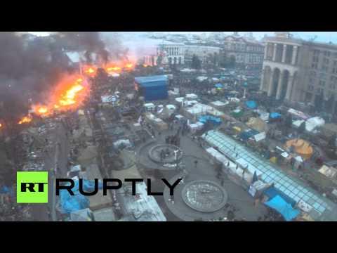 Майдан в огне с высоты птичьего полета