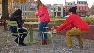 Chair Pulling Prank on Girls