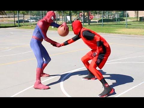 Spiderman vs Deadpool (scene via Spiderman Basketball Ep 6)