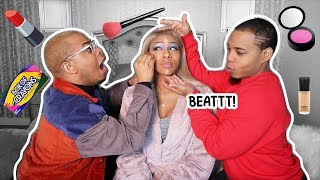 Twins Do Lil' Sister's MAKEUP💄*HILARIOUS* (feat. @JaylaKoriyan) | BaddieTwinz