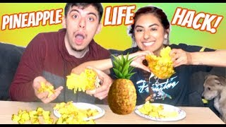 CAN YOU PULL APART A PINEAPPLE??! VIRAL PINEAPPLE HACK!!!!
