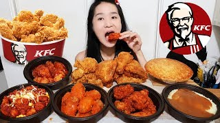 KFC HOT WINGS!! Spicy Buffalo Wings, Nashville Hot & Honey BBQ, Crispy Fried Chicken - Mukbang Asmr