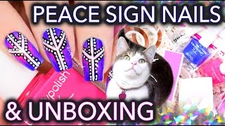 Peace sign dotticure nail art with Trendy Polish subscription box!