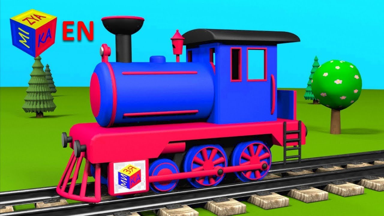 Trains for children toddlers. Construction game: steam ...