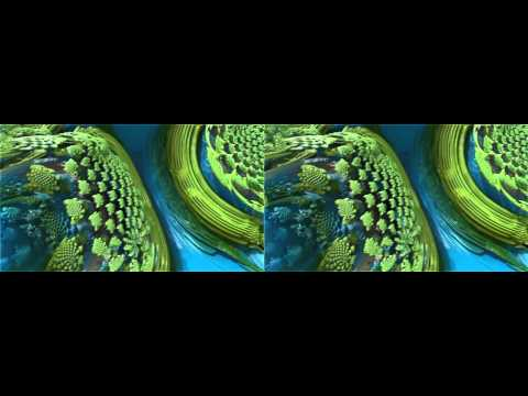 Morphing Flower vs robotic Legoland Mandelbulber Real 3D Stereoscopic HD (with pop out effects)