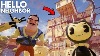 The Neighbor TURNS INTO BENDY (Bendy + Hello Neighbor) | Hello Neighbor (Beta 3 Mods)