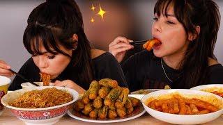 EATING ASSORTED KOREAN FOODS (GALBI NOODLES + SPICY SEAWEED ROLL + TTEOKBOKKI) 먹방 MUKBANG