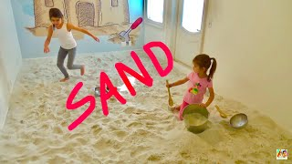 LEARN COLORS ❤️ ROOM FULL OF SAND ❤️ Fun Indoor Beach Party ❤️ DIY Sandbox Room Playtime Sandcastle