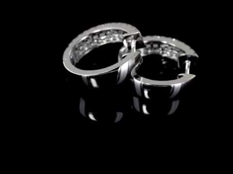 Browns Family Jewellers White Gold And Diamond Hoop Earrings