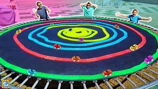 DIY Giant Magic Tracks Swirl Across Trampoline!!