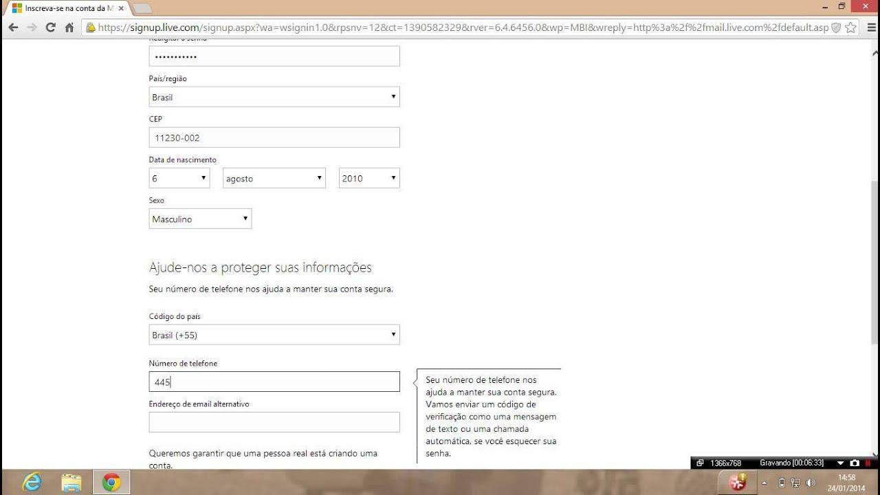 como criar email hotmail - photo #20