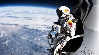 Record breaking space jump - free fall faster than speed of sound - Red Bull Stratos.