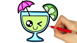 DRAWING AND COLORING A CUTE DRINK STEP BY STEP