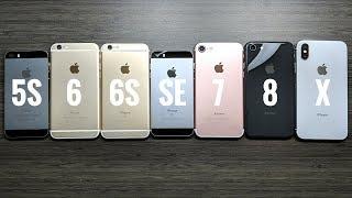 iPhone 5S vs iPhone 6 vs iPhone 6S vs iPhone SE vs iPhone 7 vs iPhone 8 vs iPhone X iOS 11.2