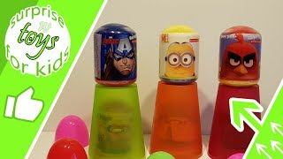 6 surprise eggs despicable me minions Avengers Angry Birds Cars 3 fun and fruity action scooter