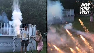 Gender-reveal fireworks fail sends people screaming