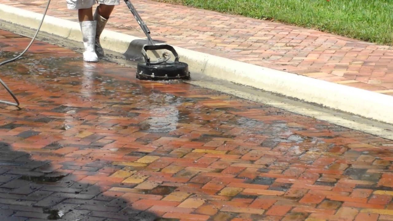 How To Pressure Wash Brick Pavers Surfaces With Scrubber
