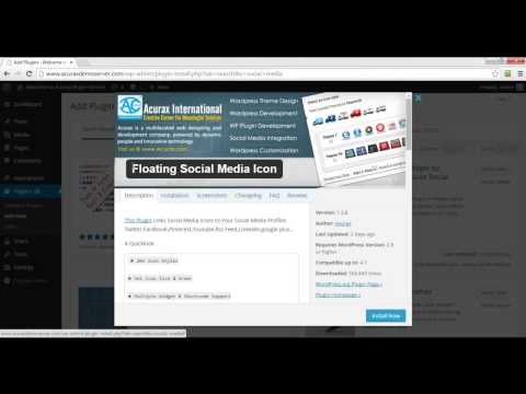 Installation of #1 Social Media Wordpress Plugin -  Floating Social Media Icon