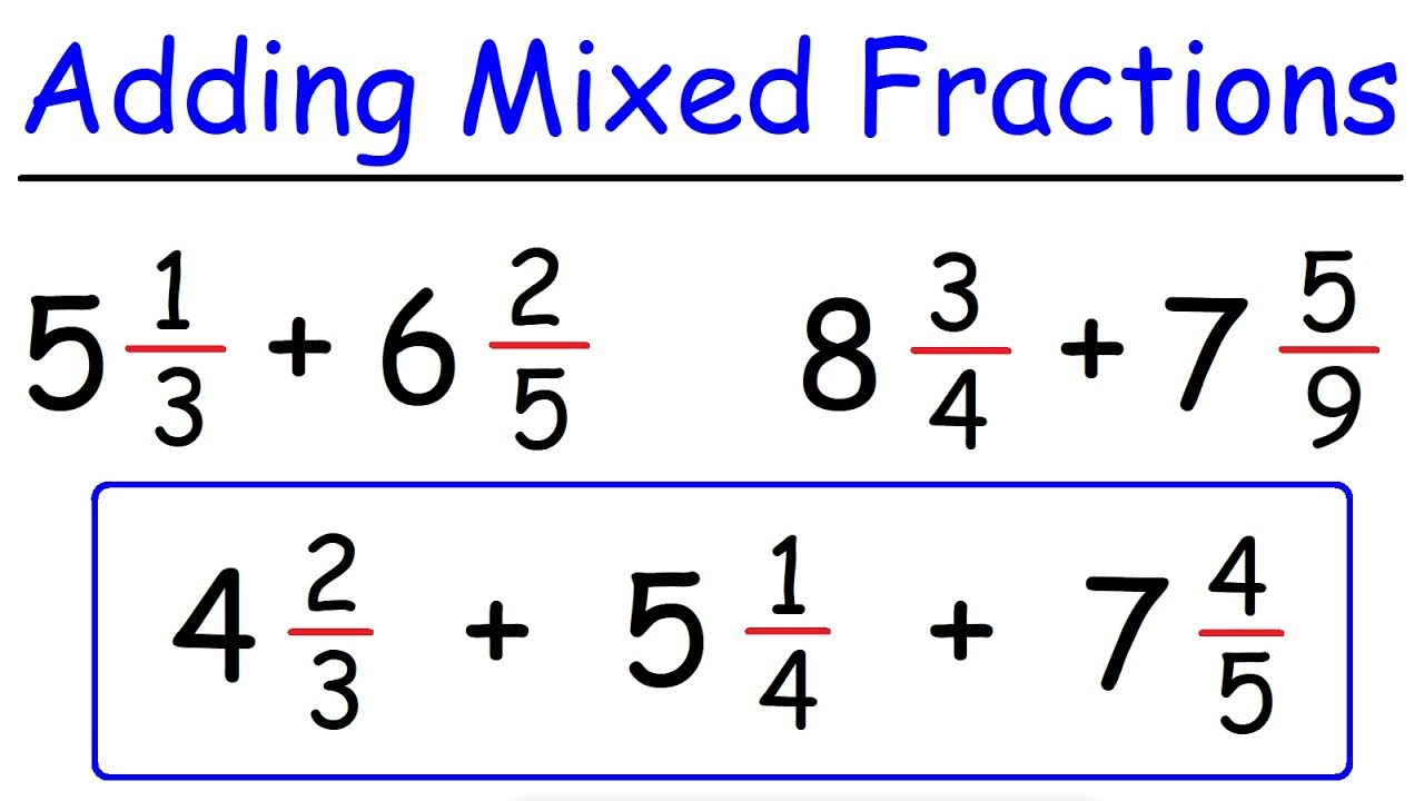 Adding Mixed Numbers With Unlike Denominators | Fractions ...