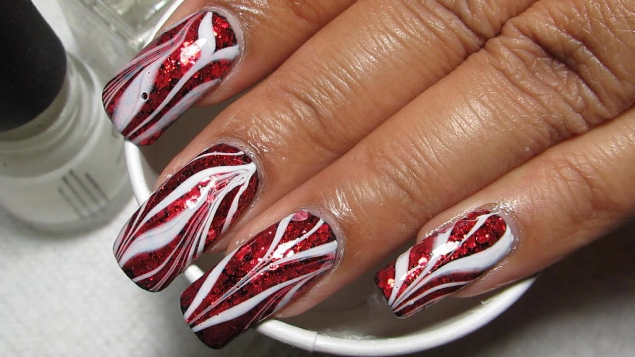 Red Glitter Amp White Glam Bacon Water Marble Nail Art