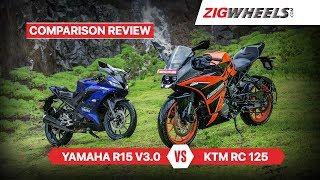 KTM RC 125 vs Yamaha YZF-R15 V3 0 | Comparison Review