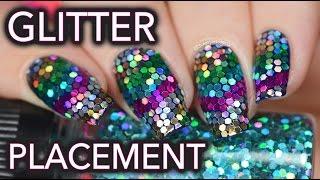 'V' shaped glitter placement nail art