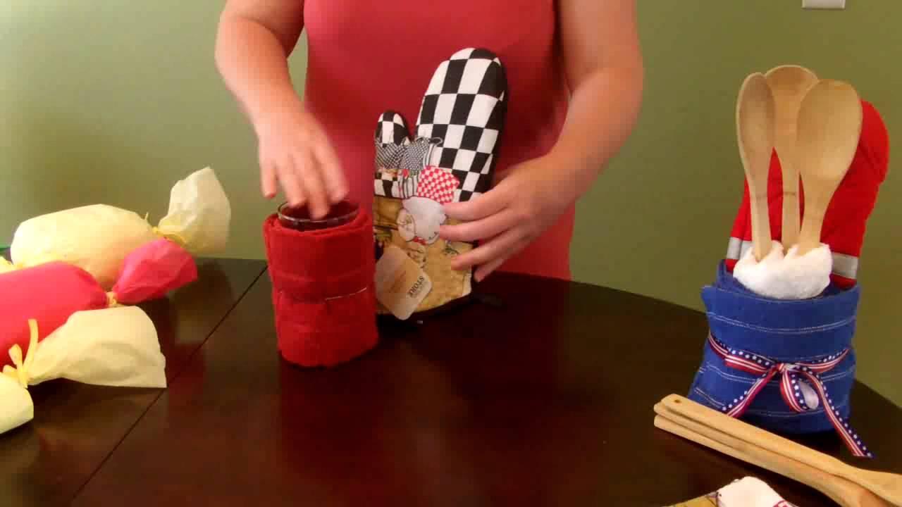 How To Make A Kitchen Towel Gift Set Housewarming Youtube