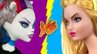 Clever Barbie Hacks vs Monster High Hacks Challenge! 16 Dolls Hacks And Crafts