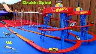 hot wheels amazing fat track double spiral speedway Corvette vs Jaguar tournament race