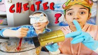 SARAH CHEATED ON MAYA!  Blindfolded Slime Challenge